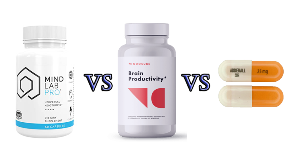 Adderall vs Mind Lab Pro vs Noocube Comparison guide